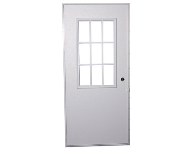 steel entry door with divided glass window for mobile homes and manufactured homes